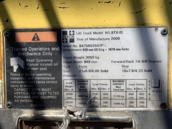 Hyster H1.8TX-EL 6