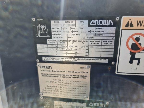 Crown 7T LPG Forklift - CG70S-5 10